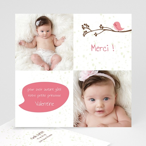 Carte Remerciement Naissance Fille Piou piou - Rose