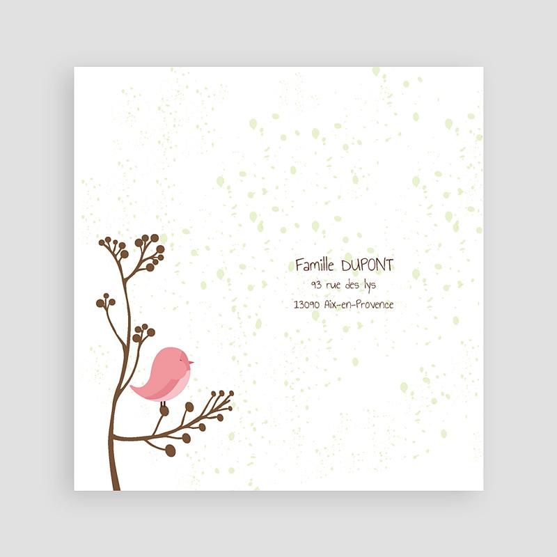 Carte Remerciement Naissance Fille Piou piou - Rose pas cher