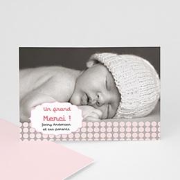 Carte remerciement naissance fille Douceur Rosée