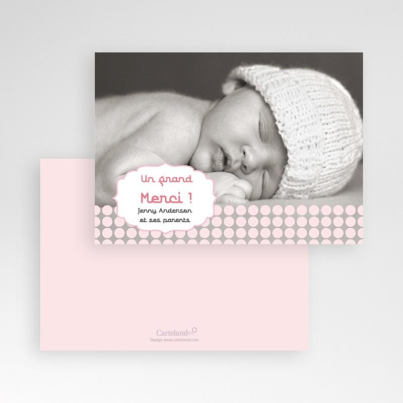 Carte remerciement naissance fille Douceur Rosée pas cher