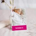 Carte Remerciement Baptême Fille Typo Rose