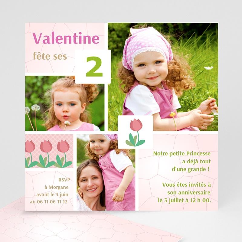 Carte invitation anniversaire fille Tulipe dans le jardin