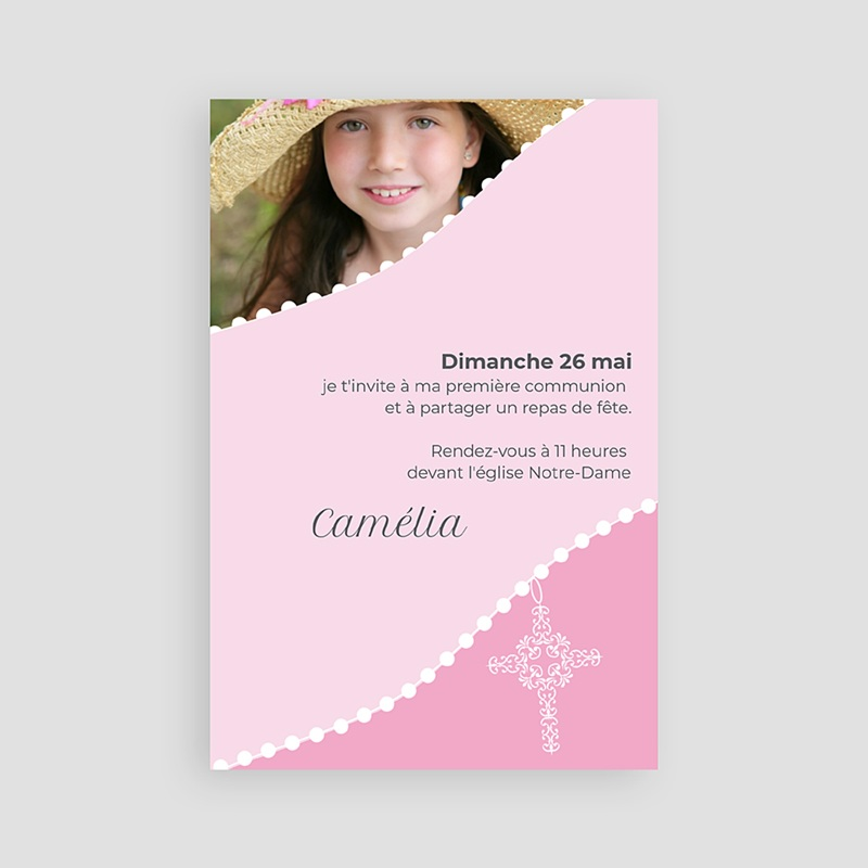 Faire-part Communion Fille - Communion sacrée - rose 1502 thumb