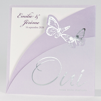 Faire-Part Mariage Traditionnel - Papillons Violets - 1