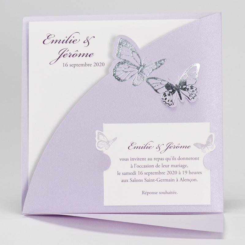 Faire part remerciement mariage papillon