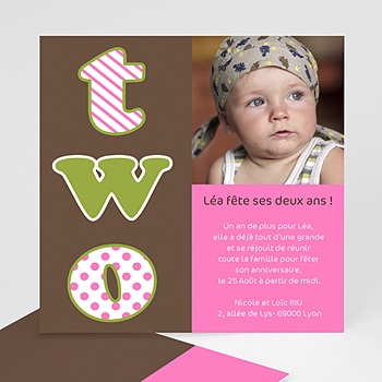 Carte invitation anniversaire fille 2 ans