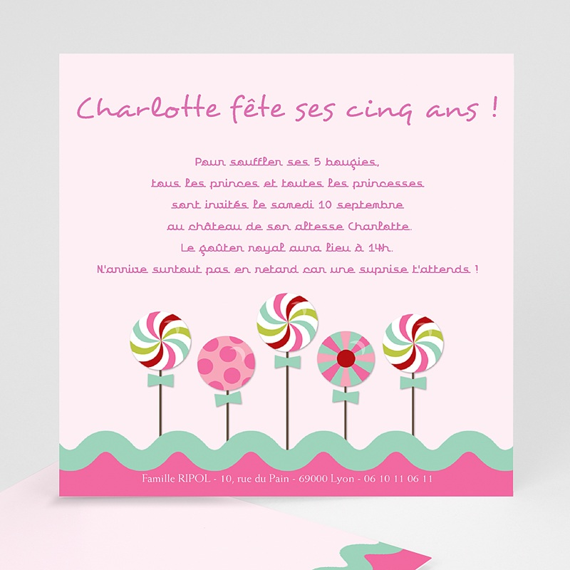 Top Invitations Anniversaire Fille - Sucre d'orge | Carteland.com CB15