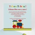 Carte invitation anniversaire garçon Train des 4 ans