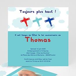 Carte invitation anniversaire garçon Avion