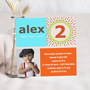 Carte invitation anniversaire garçon 2 ans coloré à personnaliser