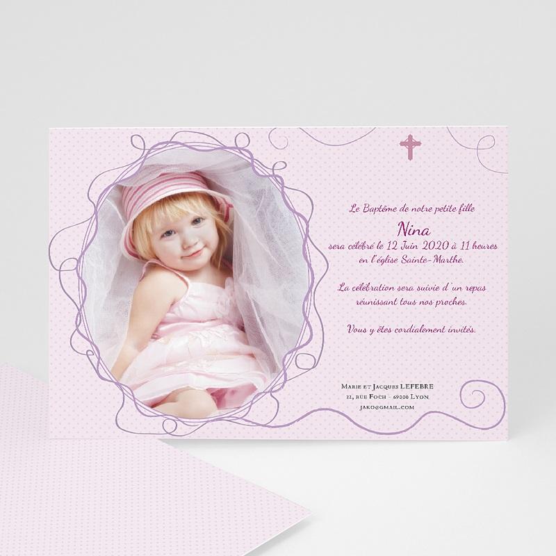 Faire-part Baptême Fille - Lilas 15453 thumb