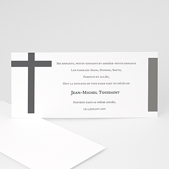 Carte remerciement décès chrétien la croix endeuillée personnalisé