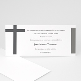 Carte remerciement décès chrétien La croix endeuillée