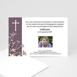 Carte remerciement décès chrétien Croix et bandeau Violet