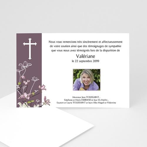 Remerciements Décès Chrétien - Croix et bandeau Violet 15484