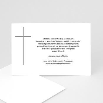 Carte remerciement décês chrétien Croix grise à personnaliser