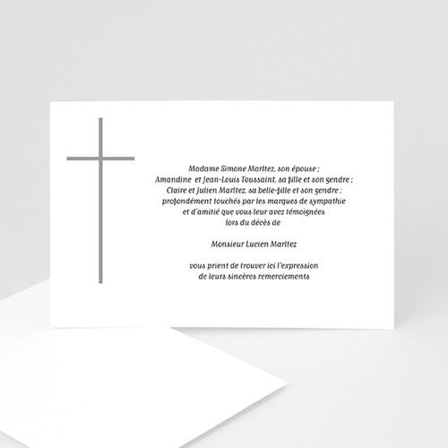 Carte Remerciement Décès Chrétien Croix grise