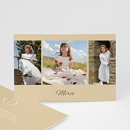 Carte remerciement communion fille La foi - beige