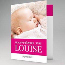 Faire-Part Baptême Typo Rose