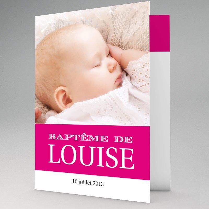 Faire-part Baptême Fille - Typo Rose 15516 thumb