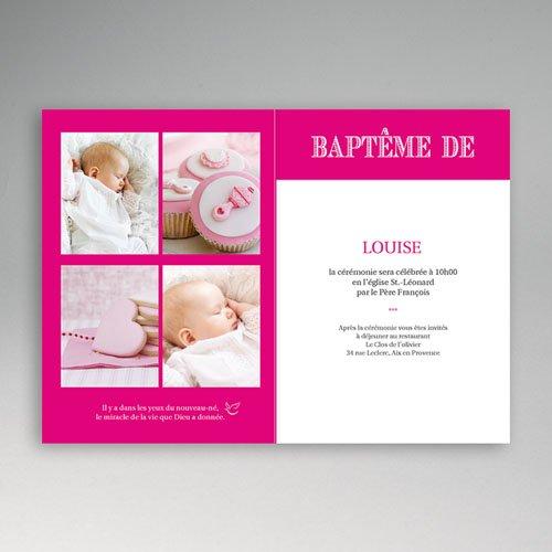 Faire-part Baptême Fille - Typo Rose 15517 preview