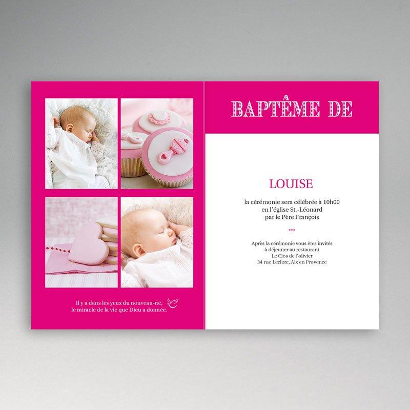 Faire-part Baptême Fille - Typo Rose 15517 thumb