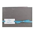 Gris fleurs arabesques ruban turquoise - 3