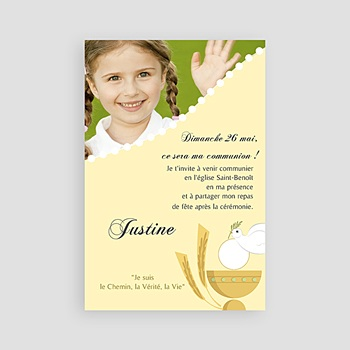 Faire-part communion fille communion illustrée - jaune personnalisable