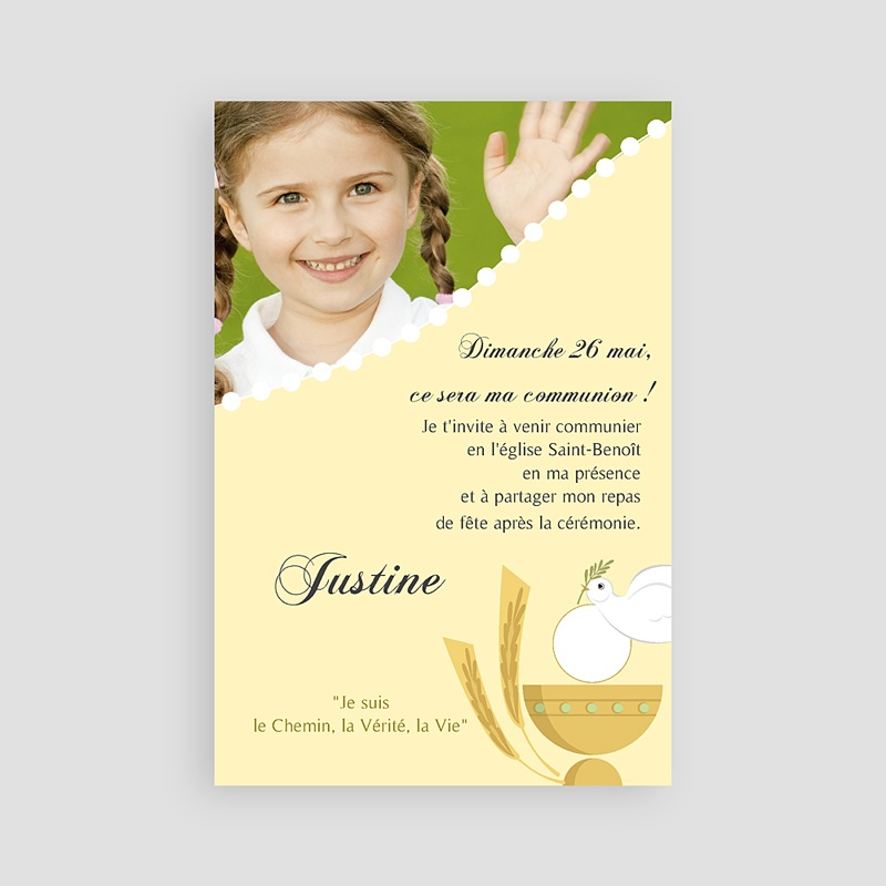 Faire-Part Communion Fille Communion illustrée - jaune