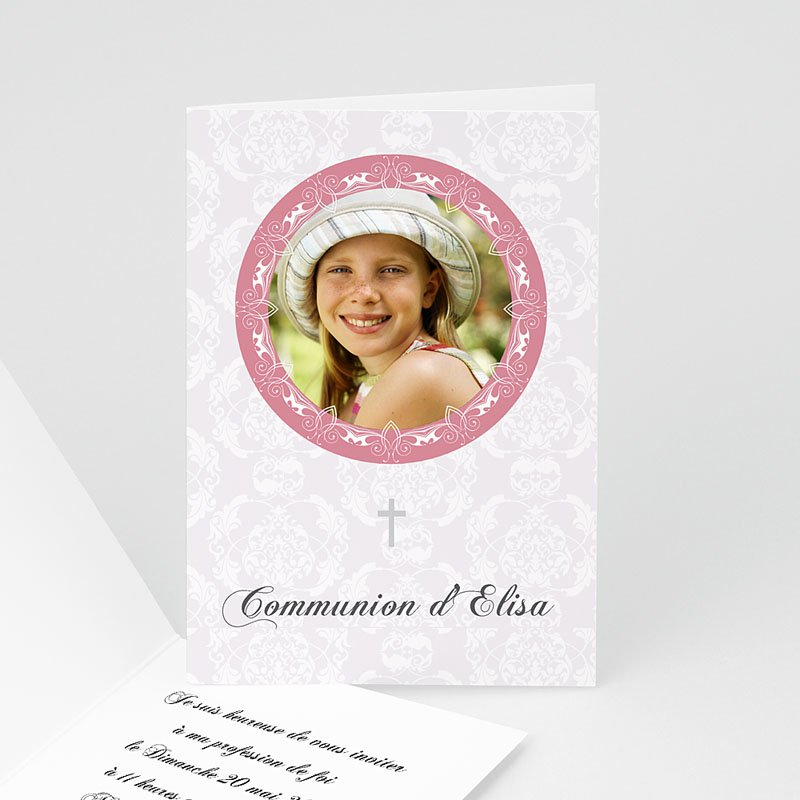 Faire-Part Communion Fille Profession de foi - Rose Fille