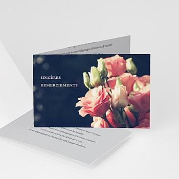 Création carte remerciement décès universel roses sur fond gris