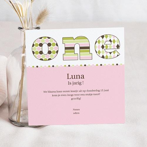 Carte invitation anniversaire fille Délice rose vert