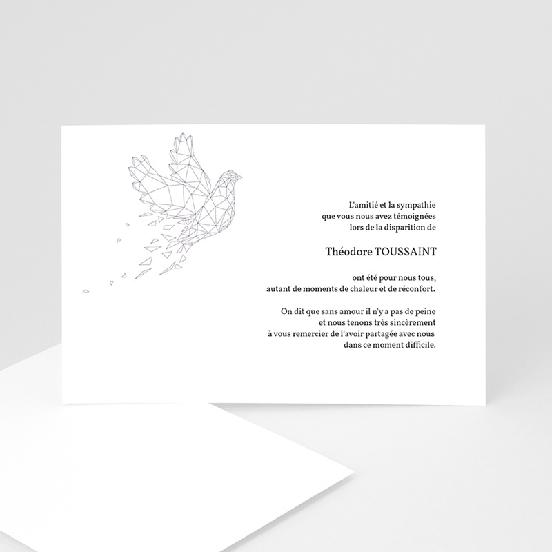 Carte Remerciement Décès Universel Colombe - Paix éternelle