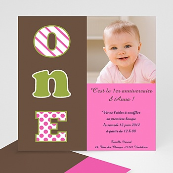Carte invitation anniversaire fille Numéro UN- fille