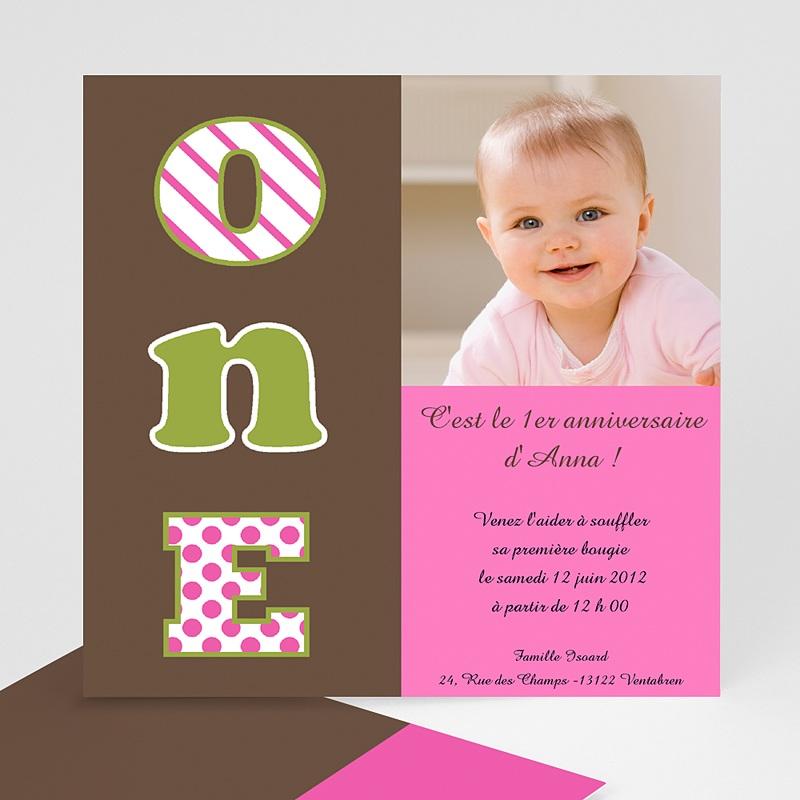 Invitation Anniversaire Fille - Numéro UN- fille 1594 thumb