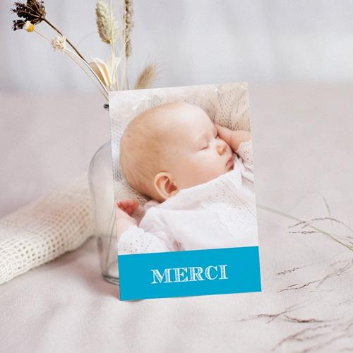 Carte Remerciement Baptême Garçon Typo Bleue