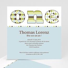 Carte invitation anniversaire garçon Délice bleu-vert