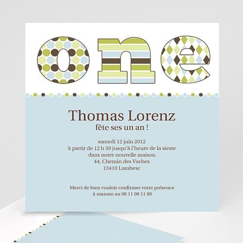 Invitations Anniversaire Garçon - Délice bleu-vert 1598 thumb