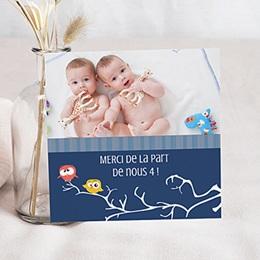 Carte remerciement naissance jumeaux Oiseaux Jumeaux