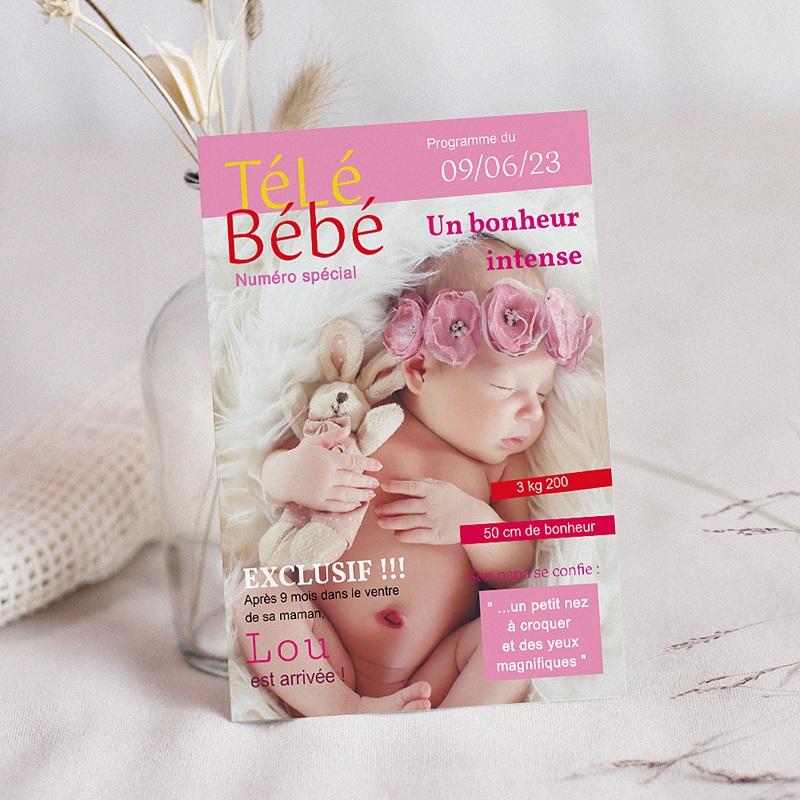 Faire-Part Naissance Fille - Magazine Télé bébé 16030 thumb