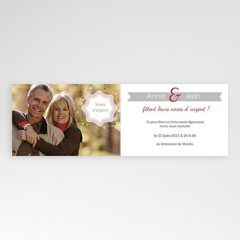 Carte invitation anniversaire mariage 25 ans d'Amour pas cher