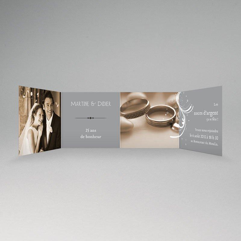 Carte invitation anniversaire mariage Argentissime pas cher