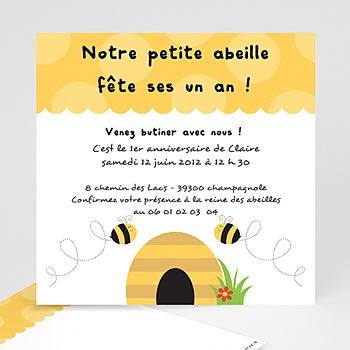 Carte invitation anniversaire garçon Abeille