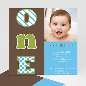 Carte invitation anniversaire garçon Numéro UN