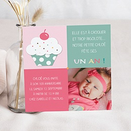 Carte invitation anniversaire fille Gourmandise