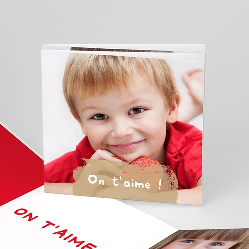 Cartes Multi-photos 3 & + - Trois portraits - Bordure rouge 16364