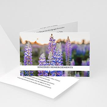 Créer soi même carte remerciement décès universel fleurs violettes