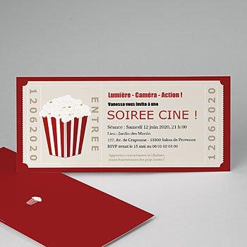 Carte invitation anniversaire adulte Ticket cinéma