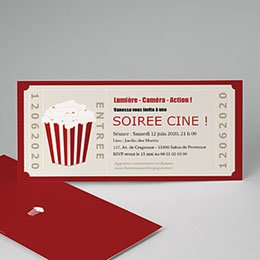 Invitations Anniversaire adulte Ticket cinéma