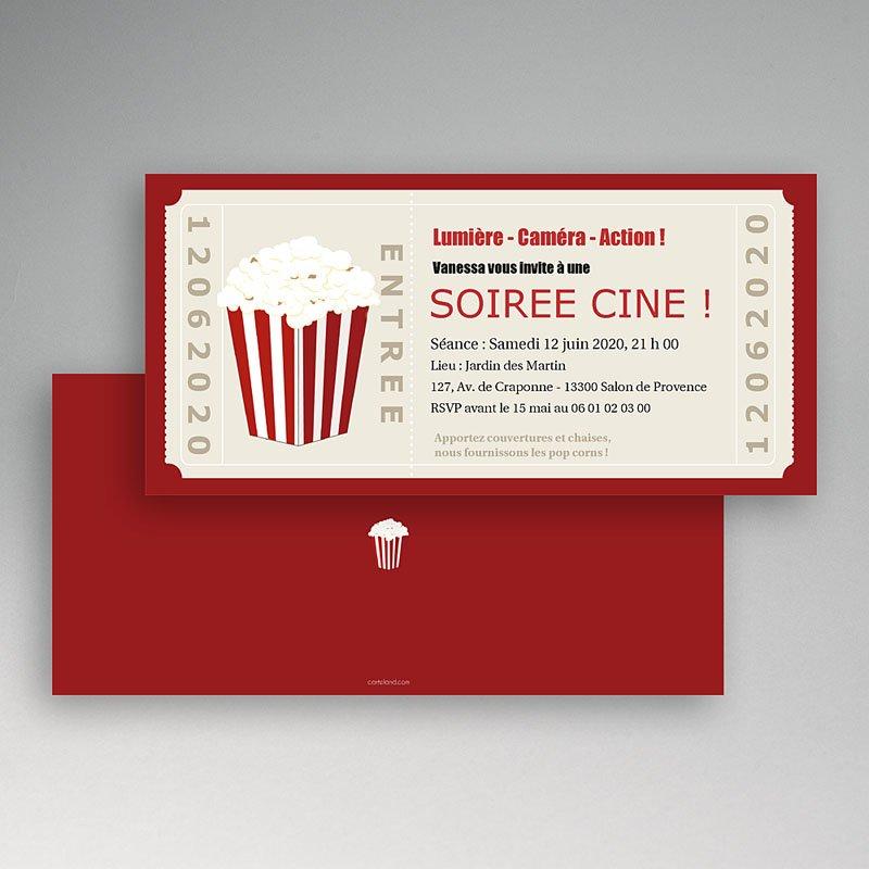 Carte invitation anniversaire adulte Ticket cinéma pas cher